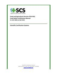 Food and Agricultural Services (SCS-FAS) Food Safety Certification ...