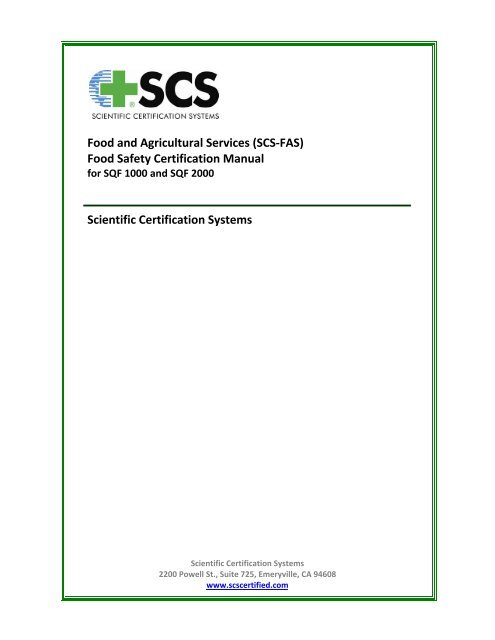 Food and Agricultural Services (SCS-FAS) Food Safety
