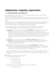 Uddannelse i kognitiv supervision - Dansk Psykiatrisk Selskab