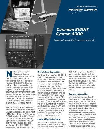 Common SIGINT System 4000 - Northrop Grumman Corporation