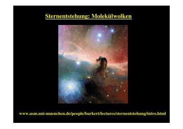 Sternentstehung: Molekülwolken