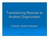 Transitioning Records to Another Organization - ARMA Terra Nova ...