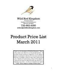 Product Price List March 2011 - Wild Bird Kingdom