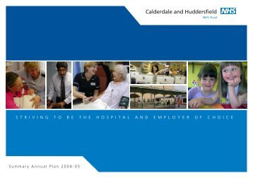 C&H Summary Plan 04-05 - Calderdale and Huddersfield NHS ...