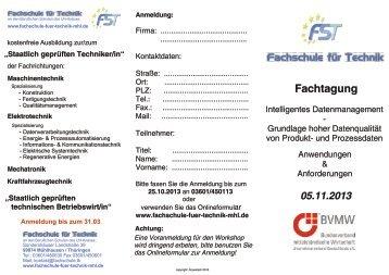 Flyer zur Fachtagung - Fachschule für Technik Mühlhausen