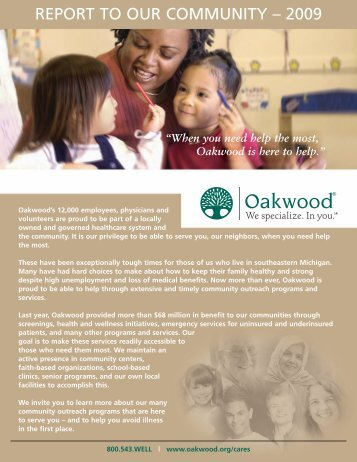 report to our community – 2009 - Oakwood Healthcare System