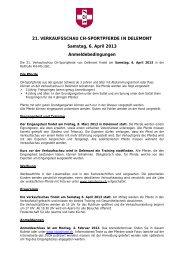 Anmeldebedingungen - Zuchtverband CH Sportpferde