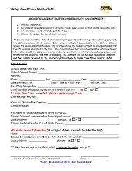 Charter Bus Requirement Form - Valley View School District 365U