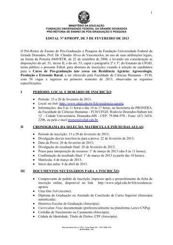 Edital 8/2013/PROPP-Seleção de candidatos para o Curso ... - UFGD