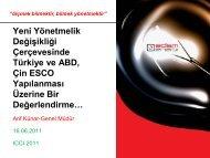 Arif KÜNAR, EDSM - Yeni Yönetmelik Değişikliği Çerçevesinde - ICCI