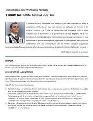 forum national sur la justice - Assemblée des Premières Nations