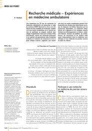 Recherche médicale – Expériences en médecine ambulatoire