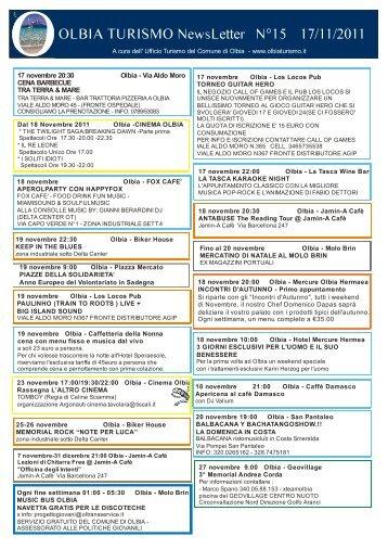 Newsletter ufficio turismo Olbia n. 15 del 17/11/2011 (PDF)