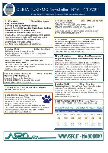 Newsletter ufficio turismo Olbia n. 9 del 06/10/2011 (PDF)