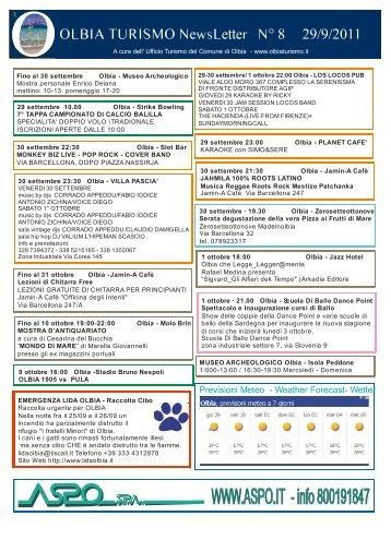 Newsletter ufficio turismo Olbia n. 8 del 29/09/2011 (PDF)