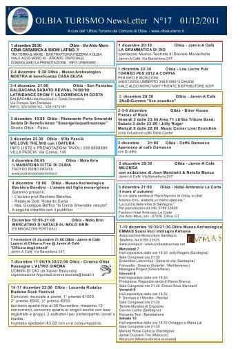 Newsletter ufficio turismo Olbia n. 17 del 01/12/2011 (PDF)