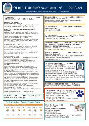 Newsletter ufficio turismo Olbia n. 11 del 20/10/2011 (PDF)