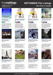 SEPTEMBER Film Listings More films on website - The Maltings
