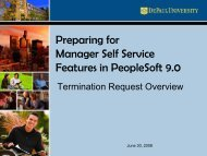 Preparing for Manager Self Service Features in PeopleSoft 9.0