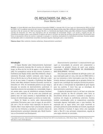 OS RESULTADOS DA RIO +10 - Departamento de Geografia - USP