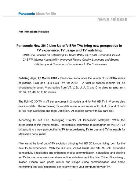 Panasonic New 2010 Line-Up Of VIERA TVs - Panasonic Press