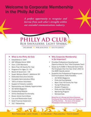Welcome to Corporate Membership in the Philly Ad Club!