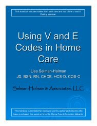 Using V and E Codes in Home Care - Home Care Information Network