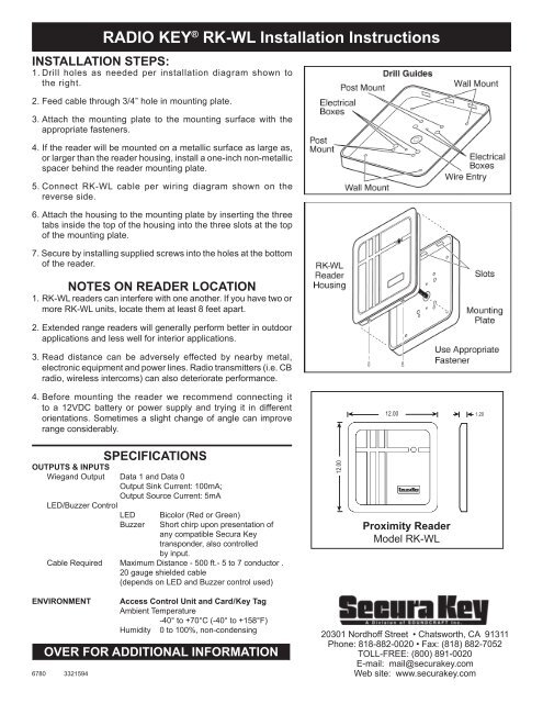 radio key� rk wl installation instructions secura key Un iMac Washer Wiring Diagram