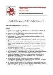 Veröffentlichungen von Prof. Dr. Norbert Baumert SJ