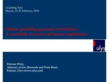 Online gambling payment restrictions A worlwide overview of ... - Ulys