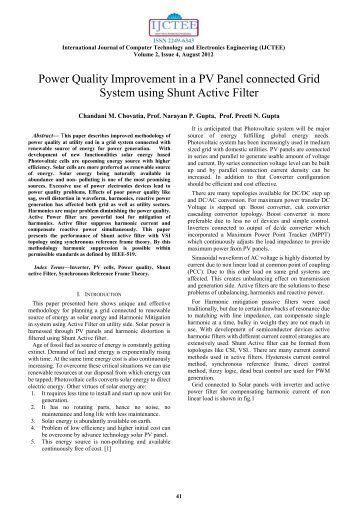 Power Quality Improvement in a PV Panel connected Grid System ...