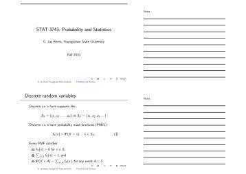 STAT 3743: Probability and Statistics Discrete random variables