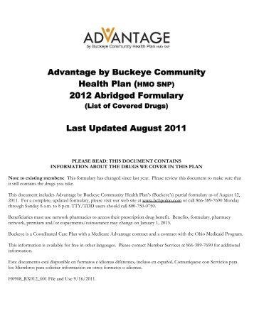 2012 Abridged Formulary - Medicare Advantage - Buckeye ...