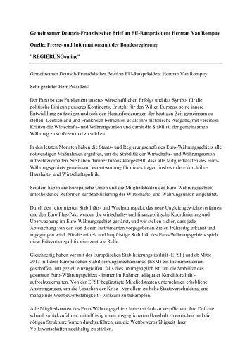 Gemeinsamer Deutsch-Französischer Brief an EU ... - EurActiv.de