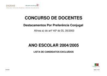 CONCURSO DE DOCENTES Destacamentos Por ... - Fenprof