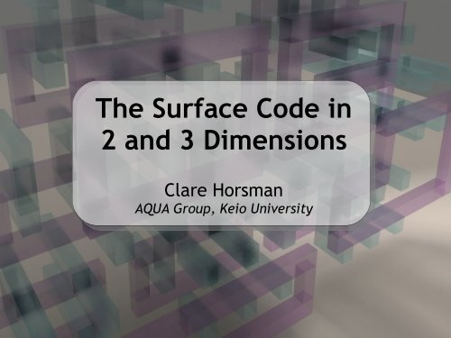 The Surface Code in 2 and 3 Dimensions