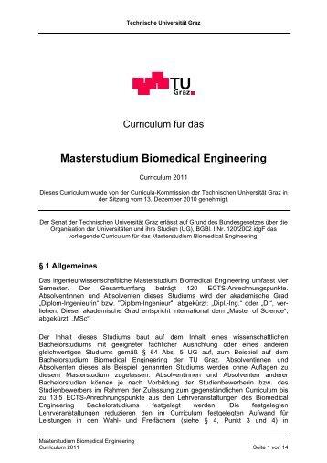 Masterstudium Biomedical Engineering - mibla.TUGraz.at