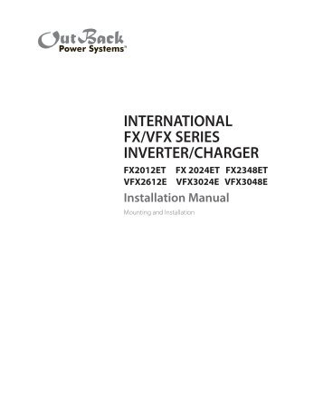 international fx/vfx series inverter/charger - OutBack Power ...