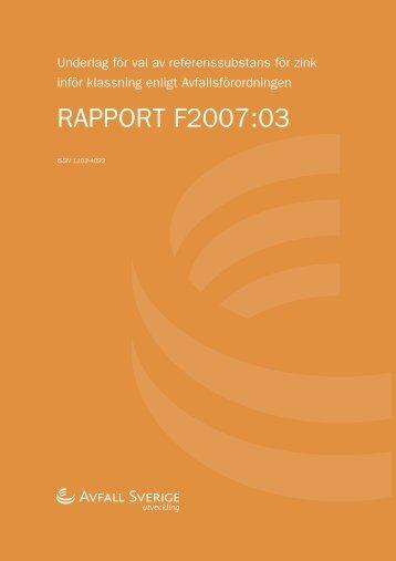 RAPPORT F2007:03 - Avfall Sverige