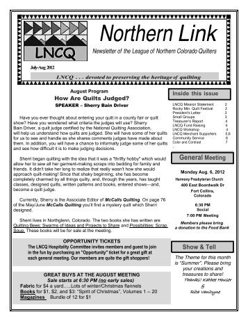 July-August 2012 Newsletter - League of Northern Colorado Quilters