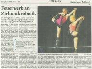 Artikel über die Premiere von 100% HOT, 22.06 ... - Zirkus Pepperoni