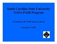 South Carolina State University NASA PAIR Program - Cnrt.scsu.edu