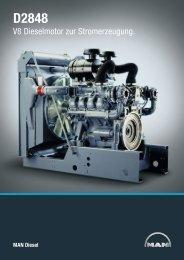 V8 Dieselmotor zur Stromerzeugung. - MAN Diesel & Turbo SE