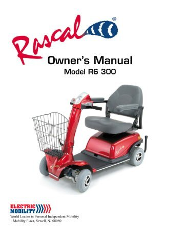 Rascal 235 scooter owner manual on
