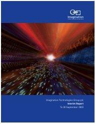 Imagination Technologies Group plc Interim Report To 30 ...