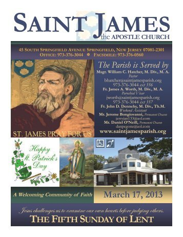 Bulletin 638 Saint James The Apostle Church Springfield NJ March ...