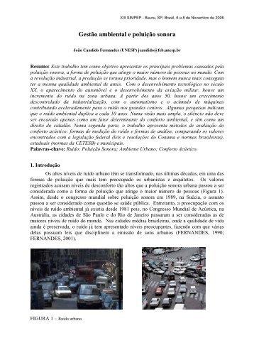 Gestão ambiental e poluição sonora - Simpep - Unesp