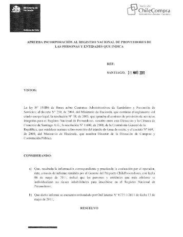 Resolución Proveedores Inscritos Abril 2011 - Chileproveedores