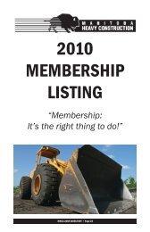 2010 membership listing - Manitoba Heavy Construction Association