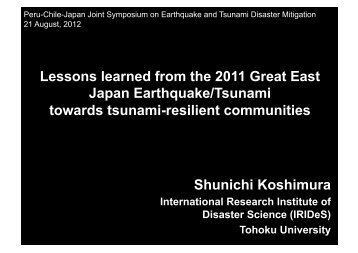 Lessons learned from the 2011 Great East Japan Earthquake ...